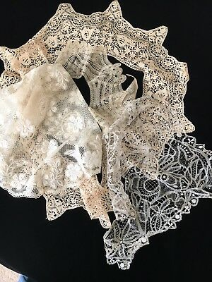 4 Large Antique Lace Collars, Some Silk