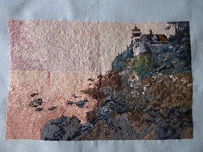 Vintage Hand Embroidered Cross Stitch Picture/stunning Coastal Sunset