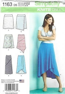 Simplicity Pattern 1163, Just for Knits, 4 - 12, Knit Skirts, 6 Different Styles