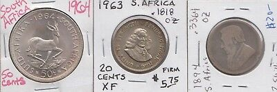 Lot of 3 South Africa Silver Coins 1894 2 Shillings 1963 20 cents 1964 50 cents