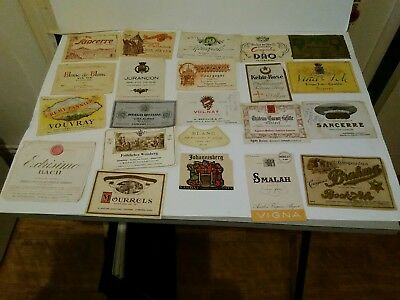 22 Vintage French & Other Wine - Original Alcohol  Labels,