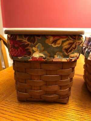 2007 Longaberger Rich Brown Tissue Basket Combo, & Lid & Two Liners