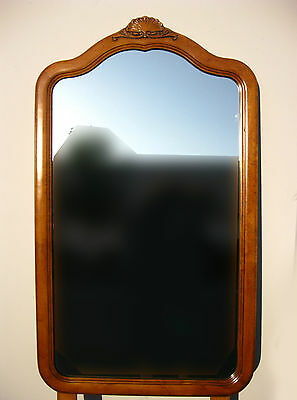 Vintage Dixie French Provincial Tall Rectangular Mirror with Wood Frame