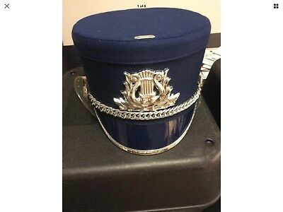 d0b369fe0f2 Stanbury Uniforms Blue Silver Marching Band Hat Sz Large L PreOwned USA  Costume