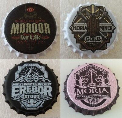 4x Fantasy Novelty Uncrimped Beer Bottle Cap Funny Beers The Lord of the Rings