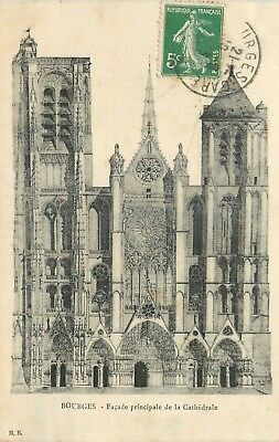 Cp Bourges Facade Principale Cathedrale