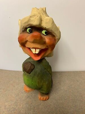 """Vintage HENNING Norway 6"""" Hand Carved Wood Troll with crown"""