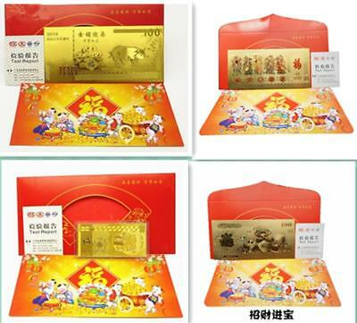 2* 2019 China Fengshui Lucky Fortune Amulet Gold Wish Card Year of The Boar Gift