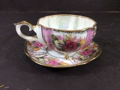 Beautiful Vintage Original Napco Hand Painted China 3 Footed Cup & Saucer