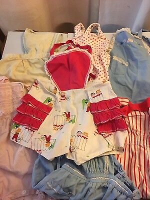 Lot of 7 Vintage 50s 60s Baby Infant Child Clothes Boys Girls Sunsuits Rompers