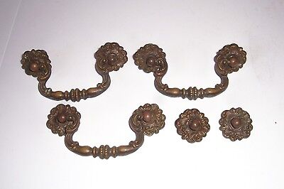 Vintage Antique Victoria Ornate Brass Drawer Pulls Hardware 3
