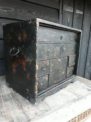Painted Pine Chinese Drawer Cabinet Run Drawers Bedside Coffee Table