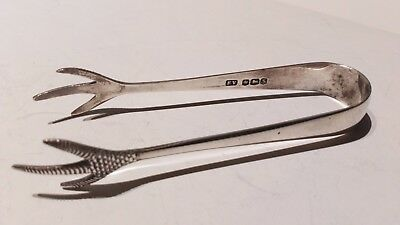 Solid Silver Sugar Tongs claw ends made by viners sheffield 1935