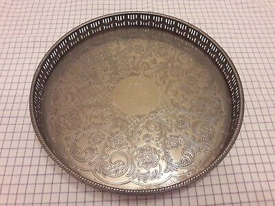 """10"""" silver plated on copper tray. Sheffield England."""