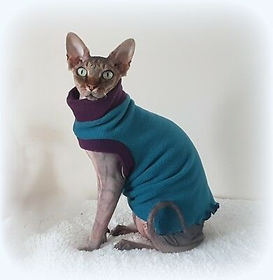 comfy COLOURS for a Sphynx cat, cat clothes, cat top, pet sweater, Sphynx top