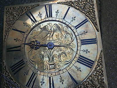 C1740 30hr  LONGCASE GRANDFATHER CLOCK DIAL+movement 11X11  Jn RONSON of  STEVEN