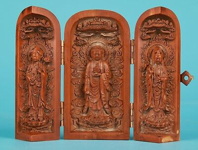 Rare Chinese Boxwood Box Sculpture Hand-Carved Bodhisattva Gift Collection