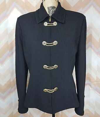 ST. JOHN COLLECTION Sz 10 Black Front zip Gold Buttons Blazer Military Jacket