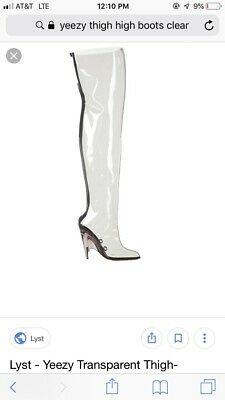 b2637ad03 Yeezy Season 4 PVC TRANSPARENT Clear Over The Knee Thigh High Boots Size 39  US 8