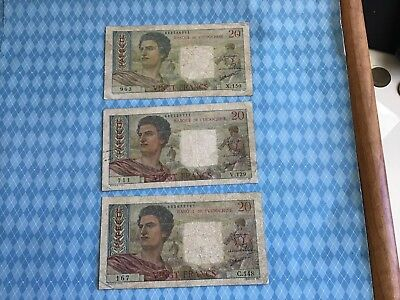 1963 Tahiti 20 Francs Notes Lot of 3 (km# 21c)