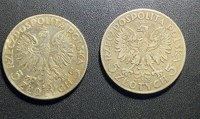 Poland 1933 And 1934 5 Zlotych: Queen Jadwiga Poland Silver Coins