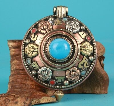 Vintage Chinese Copper Pendant Box Old Spiritual Collection Decorative Gift