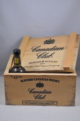 Canadian Club Whiskey Wooden Display Box Crate with Plastic Whiskey Bottle