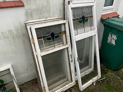 8x Original 1930s stained glass windows and frames