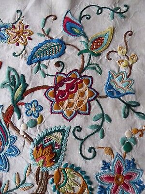 Vintage Hand Embroidered Picture Panel - Fabulous Jacobean Style Embroidery