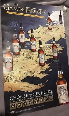 Game of Thrones Single Malt Whiskey Collection Poster ! 18 X27**NEW**