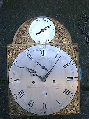 12X16+1/4  inch 8DAY   c1770 LONGCASE   CLOCK dial + movement    WILLm STACEY  O