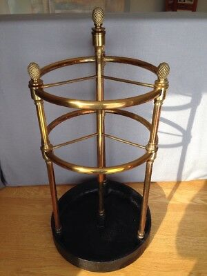 Antique Brass & Cast Iron English Edwardian 8 Section Cane Umbrella Hall Stand