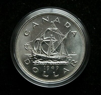 1949 1 Dollar Canada Silver Coin BU Condition