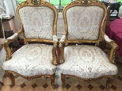 Pair Antique Rococo Baroque Arm Chairs - Carved Gilt Frames