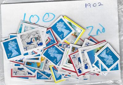 GB Stamps - 100 2nd class unfranked stamps /lot #1902