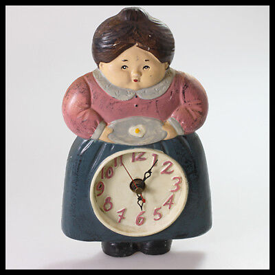 old rare vintage Country Woman Ceramic Pottery Wall Hanging Kitchen Quartz Clock