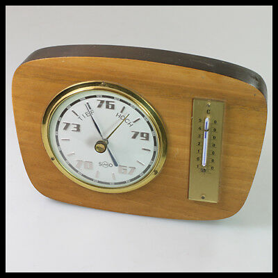 old vintage SUNDO Germany Wooden Brass Thermometer Barometer Weather Station