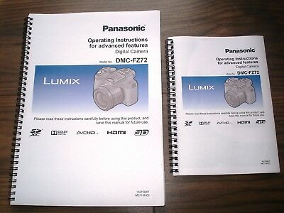 Printed panasonic lumix fz72 full colour user guide instruction.
