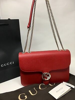 fdaeb790f6007 Gucci New Authentic GG Marmont Leather Cross Body Bag Shoulder Bag Red Large