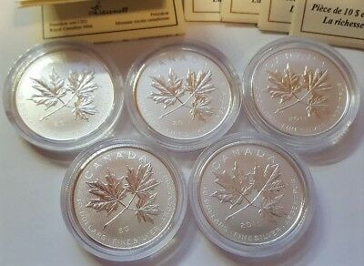 Lot of (5) x Canada $10 Maple Leaf Forever 2011 ~ Fine Silver RCM Coins w/ COAs