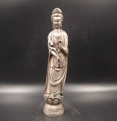 Collectibles Handmade Carving Statue Kwan-yin Copper Silver