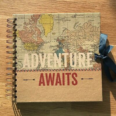 NEW Adventure Awaits Map Travel Scrapbook Photo Album Hardback Cover (40 Pages)