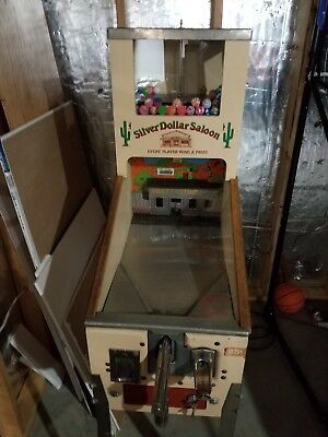 RARE Silver Dollar Saloon Shooting Gallery Coin OP Vending Machine Arcade Game