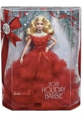 Classic Barbie 2018 Holiday Doll In Red Gown With Blonde Hair Stylish 30 Pearls