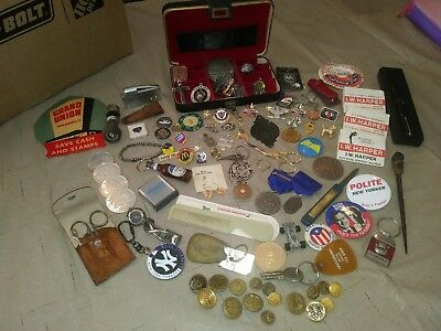 Big Junk Drawer Jewelry Buttons Pins Knife Keychain Lot Odds Ends