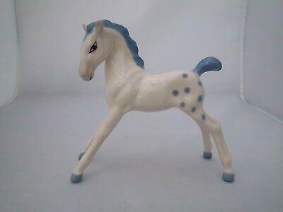 WADE RARE FOAL 110mm TALL - WHITE WITH BLUE SPOTS, MANE & TAIL - c1948 - 1953