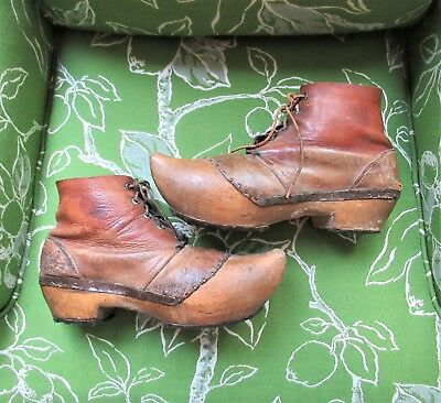 Pair of Unusual Antique Leather & Metal Boots from Denmark WWII C. C. Lipton