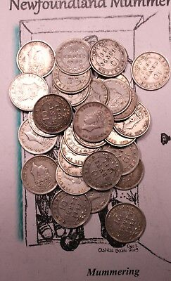 Newfoundland Sterling Silver 10 Cent Coins - Lot Of 30 Circulated