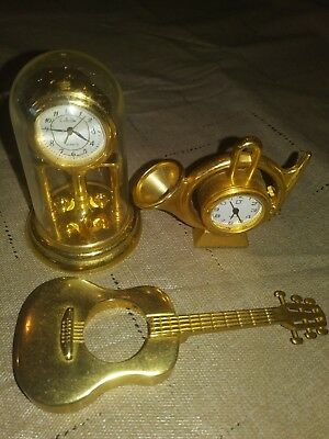 Lot Of 3 Miniature Solid Brass Novelty Quartz Clocks