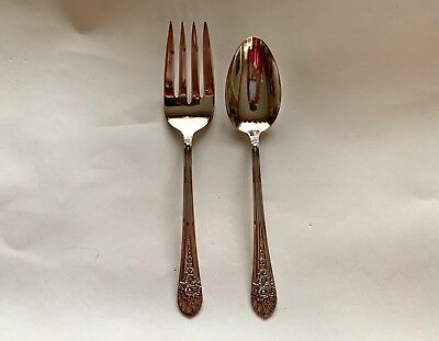 WM Rogers JUBILEE Silverplate 2 Piece Cold Meat Fork & Serve Spoon Vintage, 1953